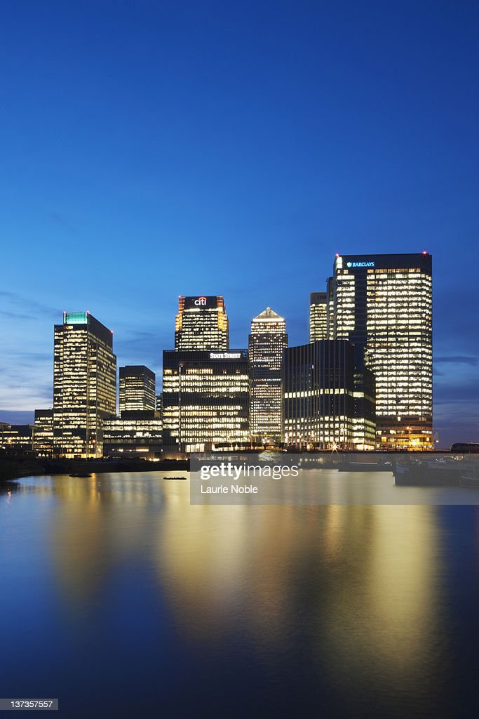 Canary Wharf at dusk; London; England : Stock Photo