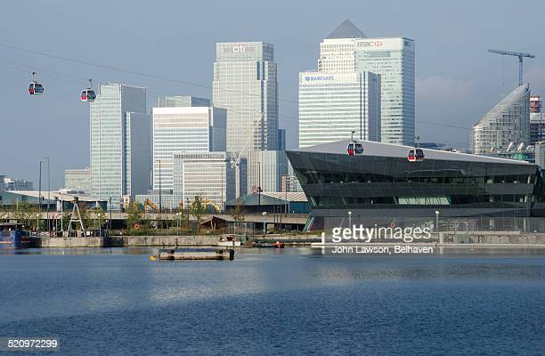 Canary Wharf, cable cars and The Crystal, London