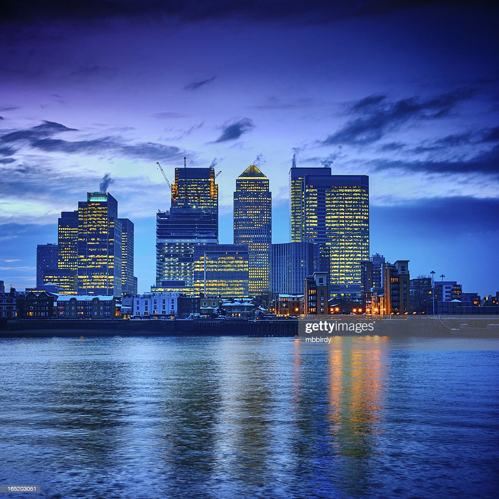Canary Wharf financial center at dusk, London