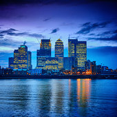 Canary Wharf financial center at dusk, London