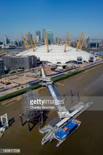Canary Wharf forms a backdrop to the O2 Arena