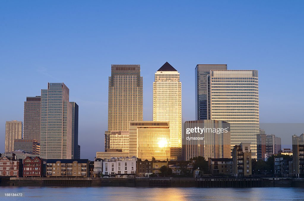 Canary Wharf skyscrapers sunrise, London