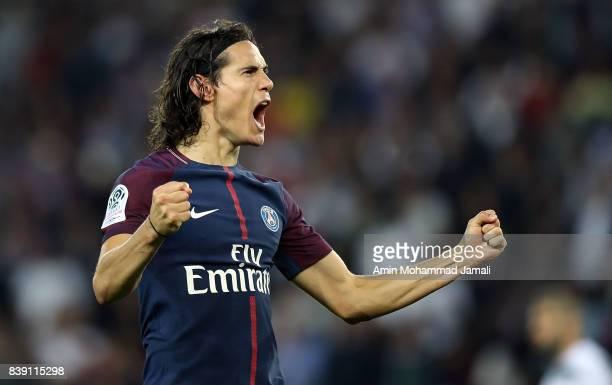 Canavani Edison Roberto of Paris Saint Geramn celebrates after his scond goal during France ligue 1 match between Paris Saint Germain v AS...