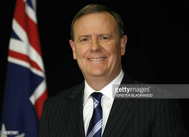 Australian Treasurer Peter Costello smiles as he announces generous tax cuts in the federal budget at Parliament House in Canberra 08 May 2007...