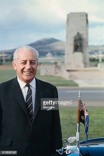 Closeups of Australian Prime Minister Harold Holt February 19 in front of the Parliament Building in Canberra