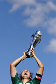 Canberra United captain Ellie Brush holds up the trophy after Canberra won the 2012 WLeague Grand Final match between Canberra United and the...
