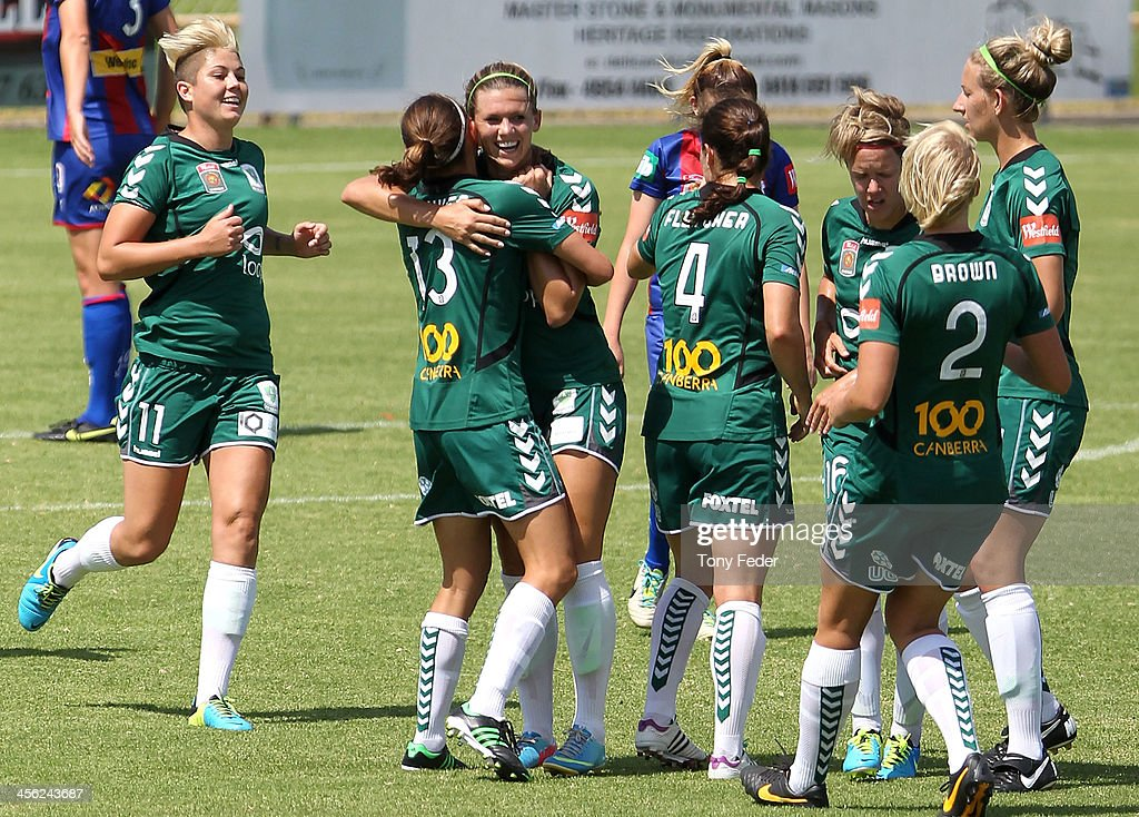 Canberra United celebrate a goal during the round five W-League match between the Newcastle Jets and Canberra United at Wanderers Oval on December 14, 2013 in Newcastle, Australia.