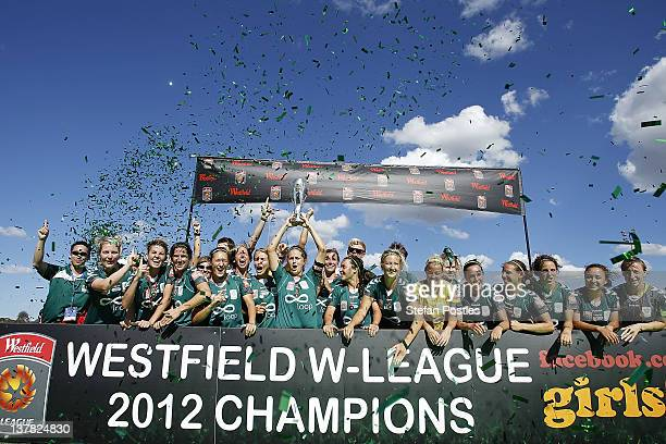 Canberra United celebrate after winning the 2012 WLeague Grand Final match between Canberra United and the Brisbane Roar at McKellar Park on January...
