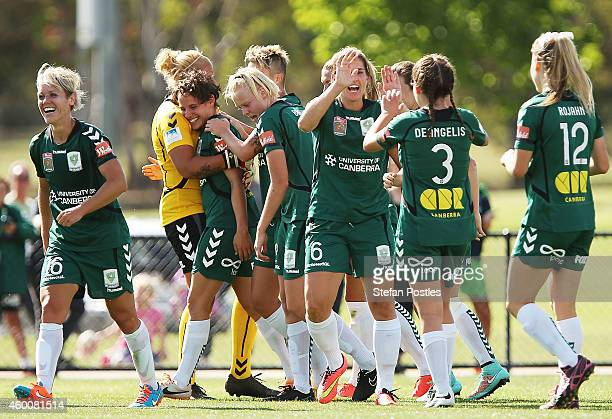 Canberra United players celebrate after a goal by Ashleigh Sykes during the round 12 WLeague match between Canberra United and Perth Glory at Vikings...