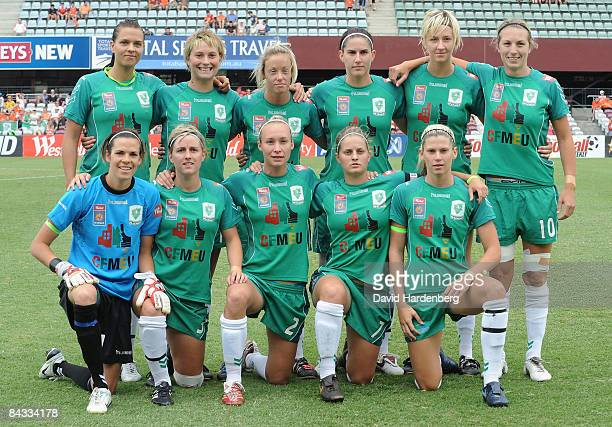 Canberra United pose prior to the WLeague 2009 Grand Final match between the Queensland Roar and Canberra United at Ballymore Stadium on January 17...