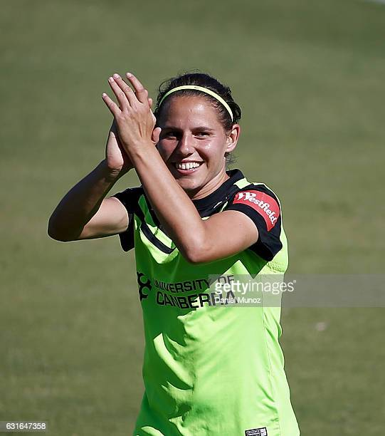 Canberra's Ashleigh Sykes leaves the field after scoring four goals during the round 12 WLeague match between Canberra United and the Perth Glory at...