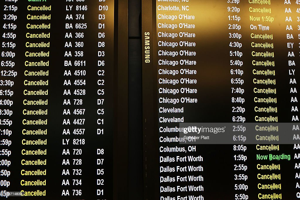 Cancelled flights due to a storm are viewed on a schedule board at LaGuardia Airport on November 7, 2012 in New York City. The Northeast suffered another storm today as a mix of snow, rain and high winds moved through the area, canceling flights and creating hazardous driving conditions. Six thousand households in the area are still without power for more than nine days following Superstorm Sandy.