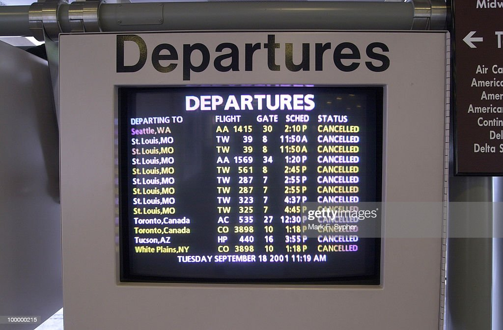 'Cancelled,' the common theme on all airport screens at Regan National Airport.