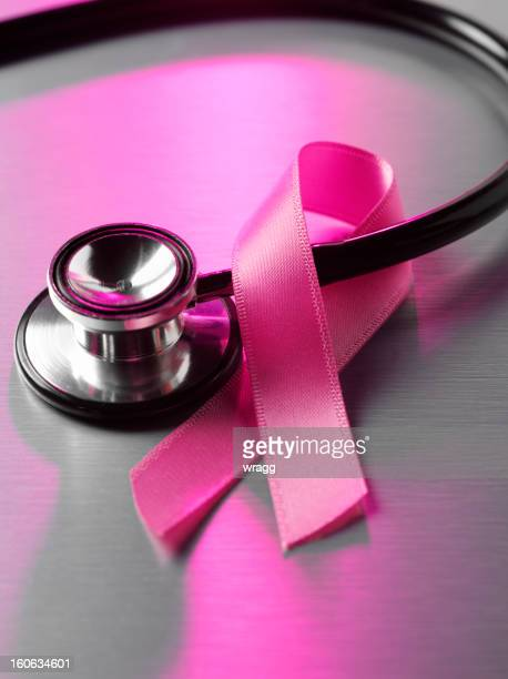 Cancer Awareness Ribbon and Stethoscope