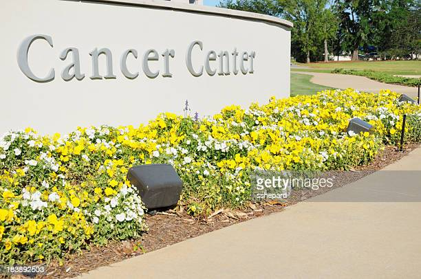 Cancer center sign with flowers