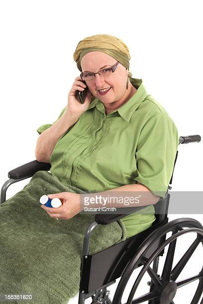 Cancer Patient in Wheelchair On Phone