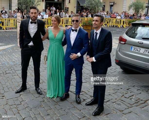 Canco Rodriguez Dani Martinez and Iker Muniain attend the wedding of baskettball player Sergio Llull and Almudena Canovas on July 1 2017 in Menorca...