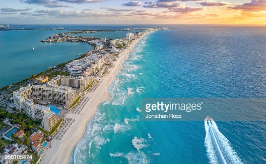 Cancun beach with boat : Stock Photo