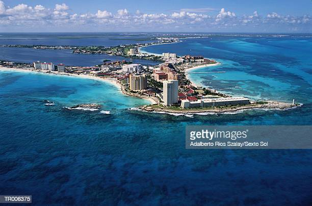 Cancun Coast and Hotels -- Aerial View