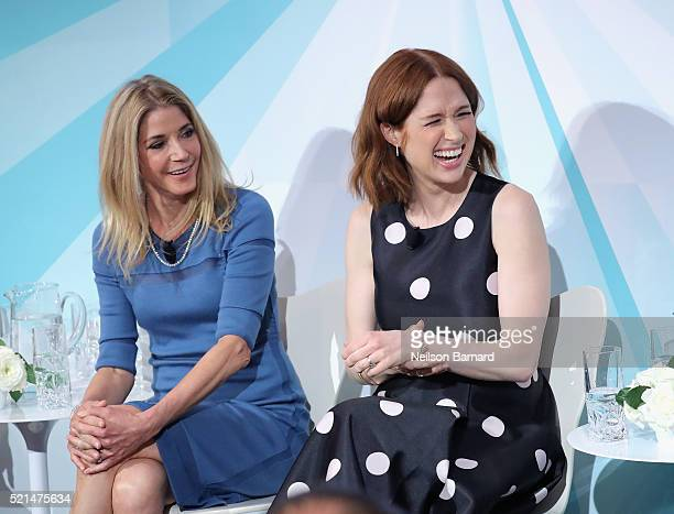 Candace Bushnell and Ellie Kemper speak at the Tiffany Co In Conversation on April 15 2016 in New York City