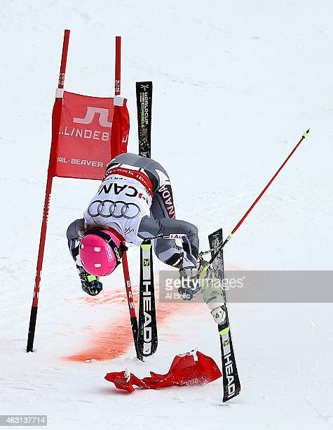 Candace Crawford of Canada crashes in her heat against Viktoria Rebensburg of Germany during the Nations Team Event at Golden Peak Stadium on Day 9...