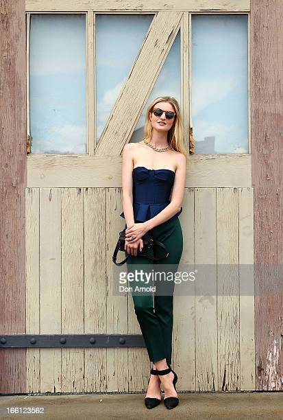 Candace Lake wears pants and top by Burburry and shoes by Alexander Wang at MercedesBenz Fashion Week Australia Spring/Summer 2013/14 at...