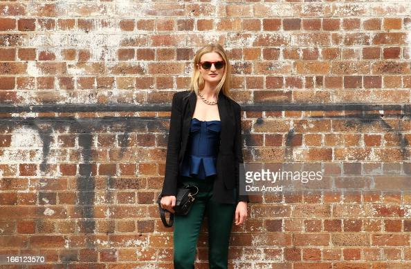 Candace Lake wears pants and top by Burburry at MercedesBenz Fashion Week Australia Spring/Summer 2013/14 at Carriageworks on April 9 2013 in Sydney...