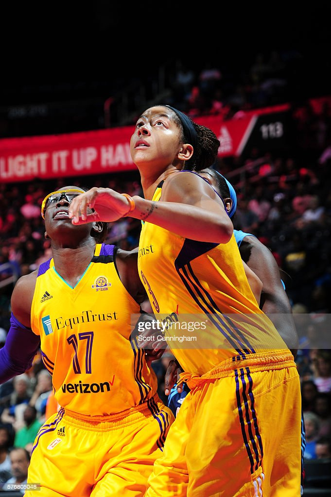 Candace Parker #3 and Essence Carson #17 of the Los Angeles Sparks react to a play against the Atlanta Dream on July 17, 2016 at Philips Arena in Atlanta, Georgia.