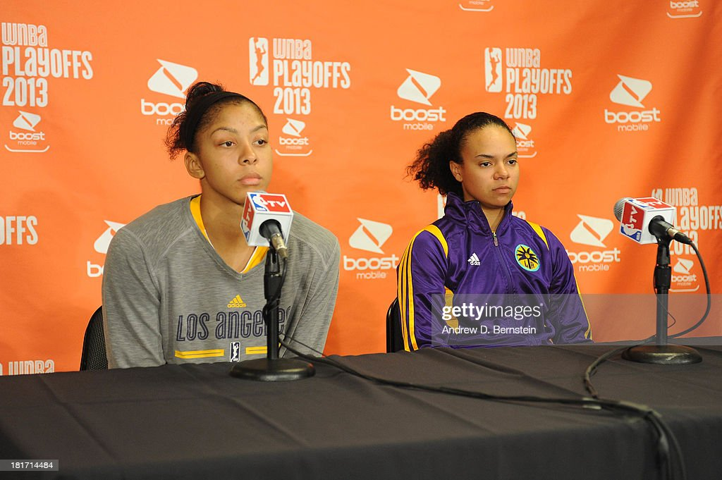 <a gi-track='captionPersonalityLinkClicked' href=/galleries/search?phrase=Candace+Parker&family=editorial&specificpeople=752955 ng-click='$event.stopPropagation()'>Candace Parker</a> #3 and Kristi Toliver #20 of the Los Angeles Sparks answer questions from the media following their team's loss to the Phoenix Mercury in Game Three of the Western Conference Semifinal of the 2013 WNBA playoffs at Staples Center on September 23, 2013 in Los Angeles, California.