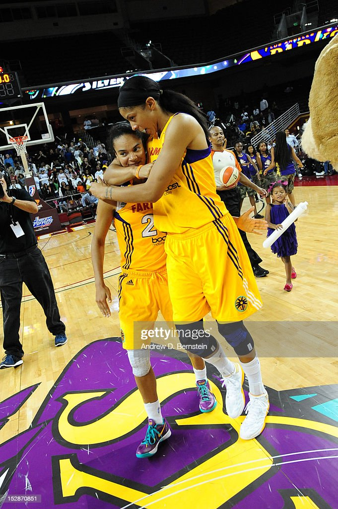 <a gi-track='captionPersonalityLinkClicked' href=/galleries/search?phrase=Candace+Parker&family=editorial&specificpeople=752955 ng-click='$event.stopPropagation()'>Candace Parker</a> #3 and Kristi Toliver #20 of the Los Angeles Sparks celebrate their victory after defeating the San Antonio Stars in Game 1 of the WNBA Western Conference Semi Finals at Galen Center on September 27, 2012 in Los Angeles, California.