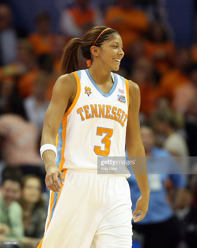 Candace Parker finally breaks a smile in the final minute during the NCAA Women's Basketball National Championship at Quicken Loans Arena in Cleveland, Ohio on April 3, 2007. Tennessee defeated Rutgers 59-46.