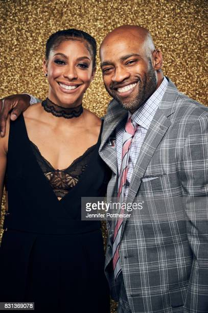 Candace Parker of the Los Angeles Sparks and Vince Carter pose for a portrait at the NBA Awards Show on June 26 2017 at Basketball City at Pier 36 in...