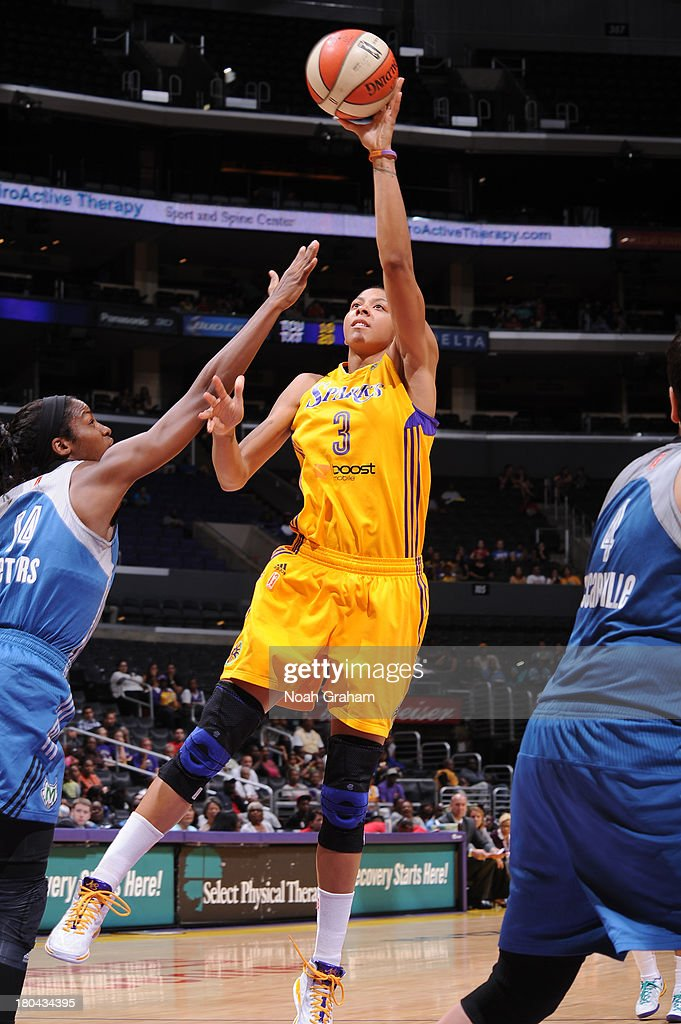 <a gi-track='captionPersonalityLinkClicked' href=/galleries/search?phrase=Candace+Parker&family=editorial&specificpeople=752955 ng-click='$event.stopPropagation()'>Candace Parker</a> #3 of the Los Angeles Sparks attempts a shot against the Minnesota Lynx at Staples Center on September 12, 2013 in Los Angeles, California.