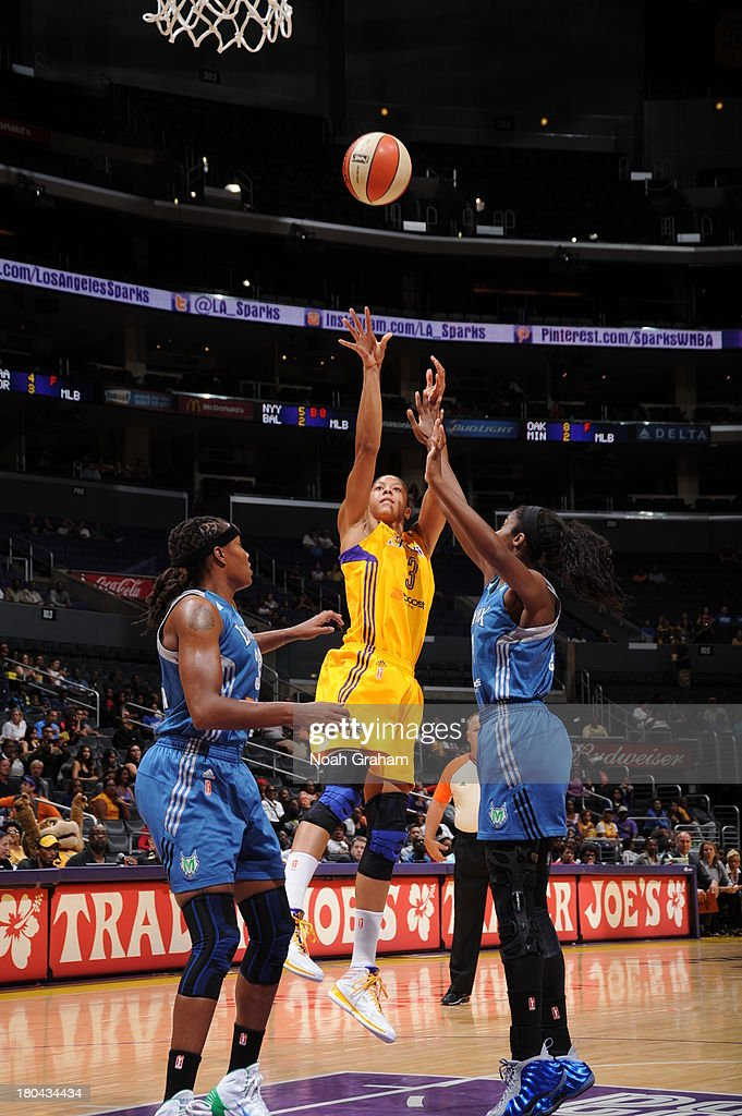 <a gi-track='captionPersonalityLinkClicked' href=/galleries/search?phrase=Candace+Parker&family=editorial&specificpeople=752955 ng-click='$event.stopPropagation()'>Candace Parker</a> #3 of the Los Angeles Sparks attempts a shot during a game against the Minnesota Lynx at Staples Center on September 12, 2013 in Los Angeles, California.