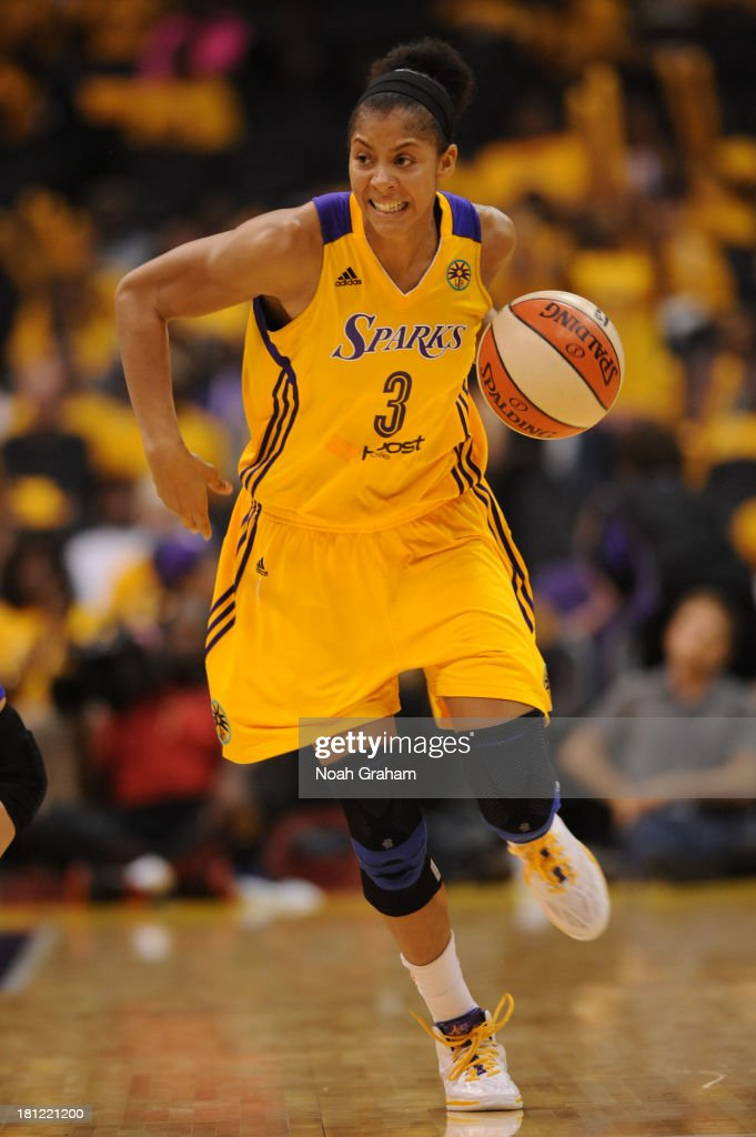<a gi-track='captionPersonalityLinkClicked' href=/galleries/search?phrase=Candace+Parker&family=editorial&specificpeople=752955 ng-click='$event.stopPropagation()'>Candace Parker</a> #3 of the Los Angeles Sparks brings the ball up court during a game against the Phoenix Mercury at STAPLES Center on September 19, 2013 in Los Angeles, California.