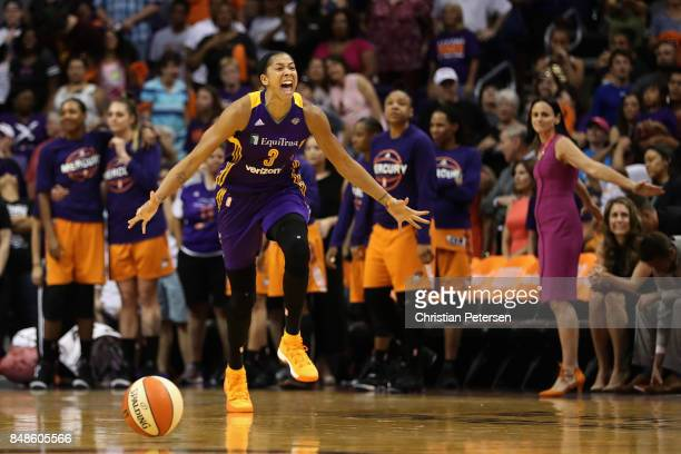 Candace Parker of the Los Angeles Sparks celebrates after defeating the Phoenix Mercury in the semifinal game three of the 2017 WNBA Playoffs at...