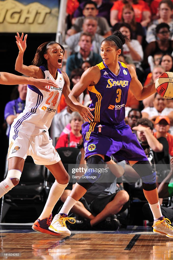 <a gi-track='captionPersonalityLinkClicked' href=/galleries/search?phrase=Candace+Parker&family=editorial&specificpeople=752955 ng-click='$event.stopPropagation()'>Candace Parker</a> #3 of the Los Angeles Sparks dribbles against <a gi-track='captionPersonalityLinkClicked' href=/galleries/search?phrase=DeWanna+Bonner&family=editorial&specificpeople=4085058 ng-click='$event.stopPropagation()'>DeWanna Bonner</a> #24 of the Phoenix Mercury in Game 2 Round 1 of the 2013 WNBA Playoffs on September 13, 2013 at U.S. Airways Center in Phoenix, Arizona.