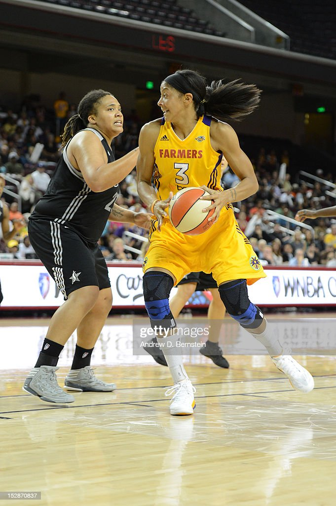 <a gi-track='captionPersonalityLinkClicked' href=/galleries/search?phrase=Candace+Parker&family=editorial&specificpeople=752955 ng-click='$event.stopPropagation()'>Candace Parker</a> #3 of the Los Angeles Sparks drives to the basket during Game 1 of the WNBA Western Conference Semi Finals against the San Antonio Stars at Galen Center on September 27, 2012 in Los Angeles, California.