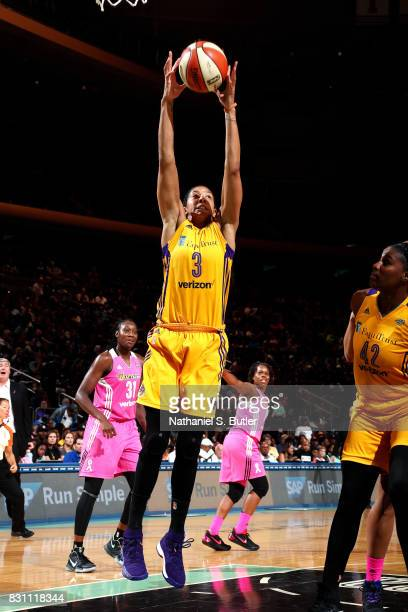 Candace Parker of the Los Angeles Sparks gets the rebound during the game against the New York Liberty during a WNBA game at Madison Square Garden in...