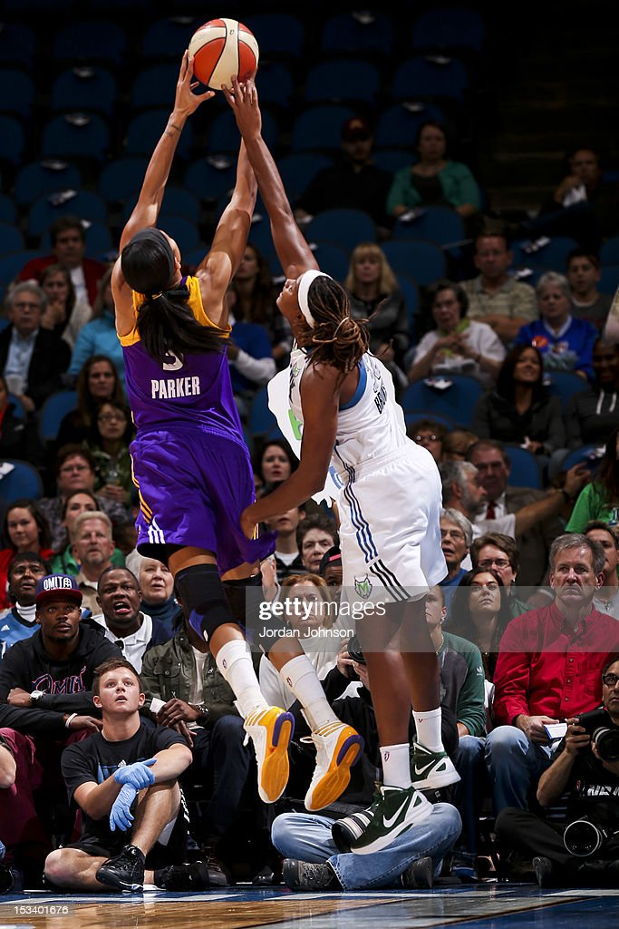 Candace Parker #3 of the Los Angeles Sparks goes for a rebound against Rebekkah Brunson #32 of the Minnesota Lynx during Game One of the 2012 WNBA Western Conference Finals on October 4, 2012 at Target Center in Minneapolis, Minnesota.