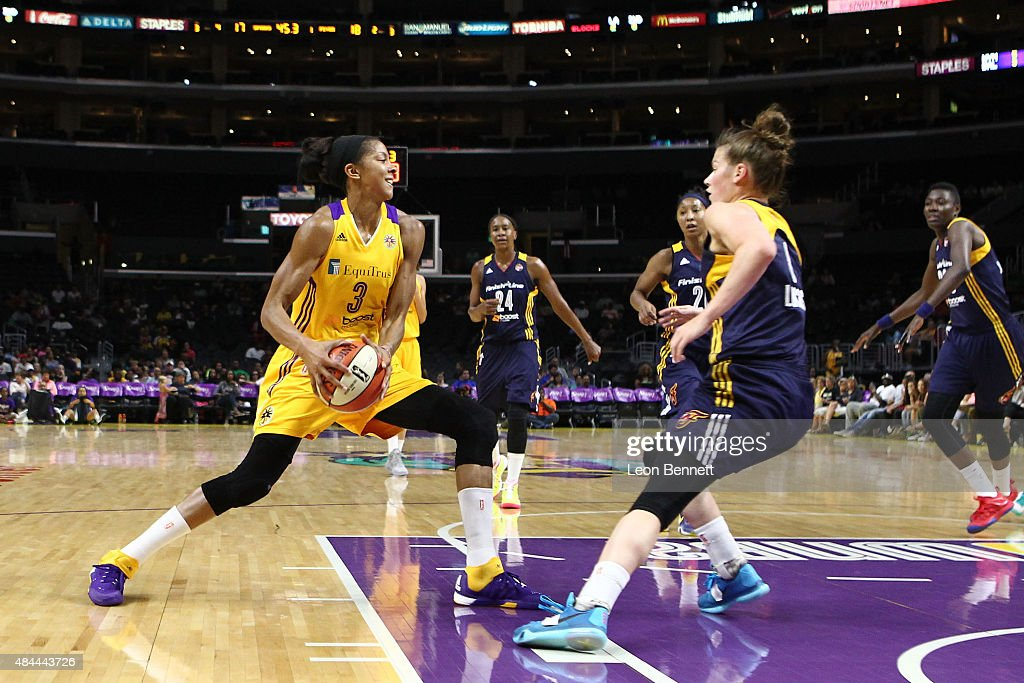 <a gi-track='captionPersonalityLinkClicked' href=/galleries/search?phrase=Candace+Parker&family=editorial&specificpeople=752955 ng-click='$event.stopPropagation()'>Candace Parker</a> #3 of the Los Angeles Sparks handles the ball against <a gi-track='captionPersonalityLinkClicked' href=/galleries/search?phrase=Maggie+Lucas&family=editorial&specificpeople=7449966 ng-click='$event.stopPropagation()'>Maggie Lucas</a> #8 of the Indiana Fever in a WNBA game at Staples Center on August 18, 2015 in Los Angeles, California.