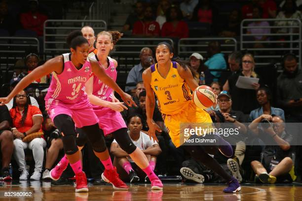 Candace Parker of the Los Angeles Sparks handles the ball against the Washington Mystics on August 16 2017 at the Verizon Center in Washington DC...