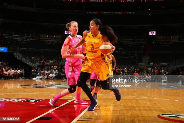 Candace Parker of the Los Angeles Sparks handles the ball during the game against the Washington Mystics on August 16 2017 at the Verizon Center in...