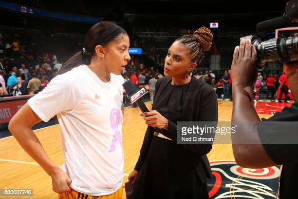 Candace Parker of the Los Angeles Sparks is interviewed after the game against the Washington Mystics on August 16 2017 at the Verizon Center in...