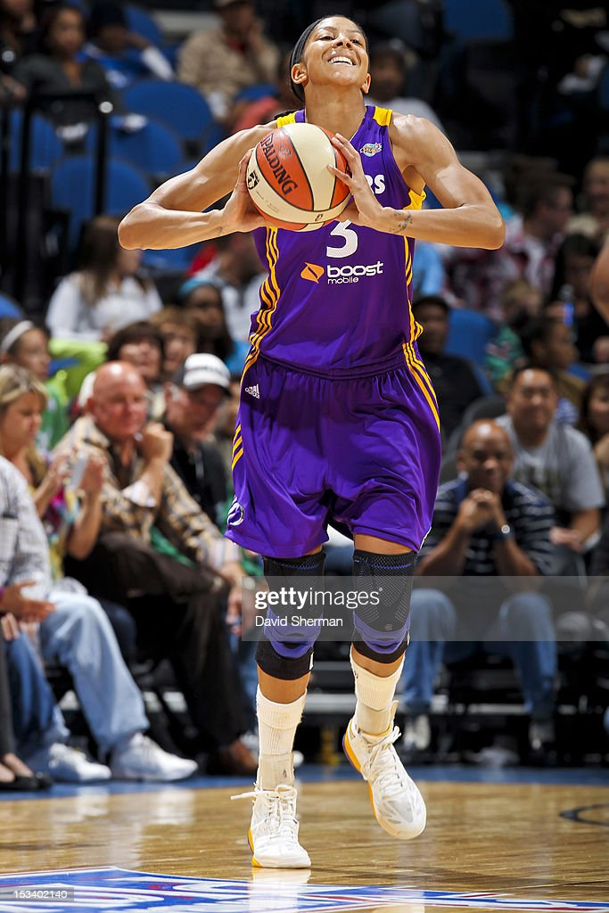 Candace Parker #3 of the Los Angeles Sparks looks to pass the ball against the Minnesota Lynx during Game One of the 2012 WNBA Western Conference Finals on October 4, 2012 at Target Center in Minneapolis, Minnesota.