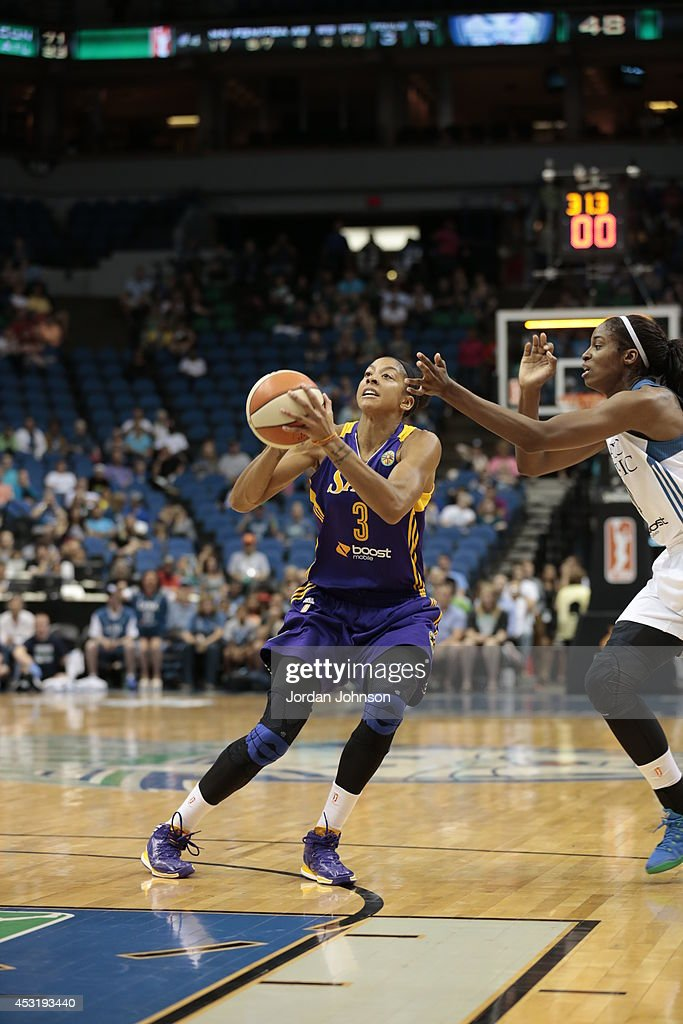 Candace Parker #3 of the Los Angeles Sparks looks to shoot the ball against the Minnesota Lynx during the WNBA game on July 8, 2014 at Target Center in Minneapolis, Minnesota.
