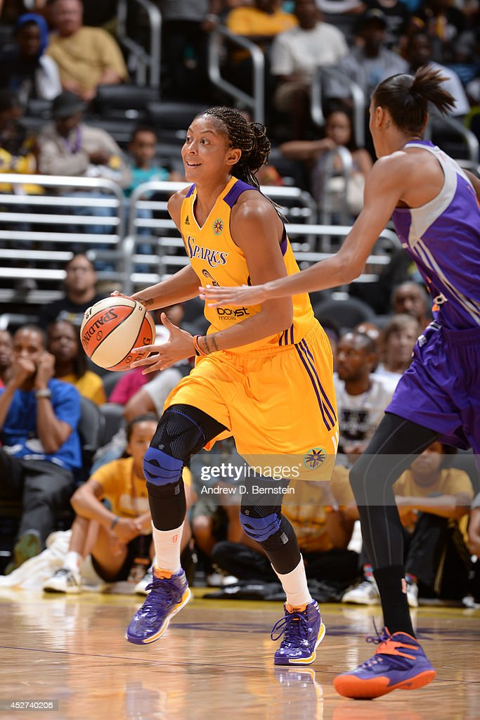 Candace Parker #3 of the Los Angeles Sparks moves the ball up-court against the Phoenix Mercury at STAPLES Center on July 24, 2014 in Los Angeles, California.
