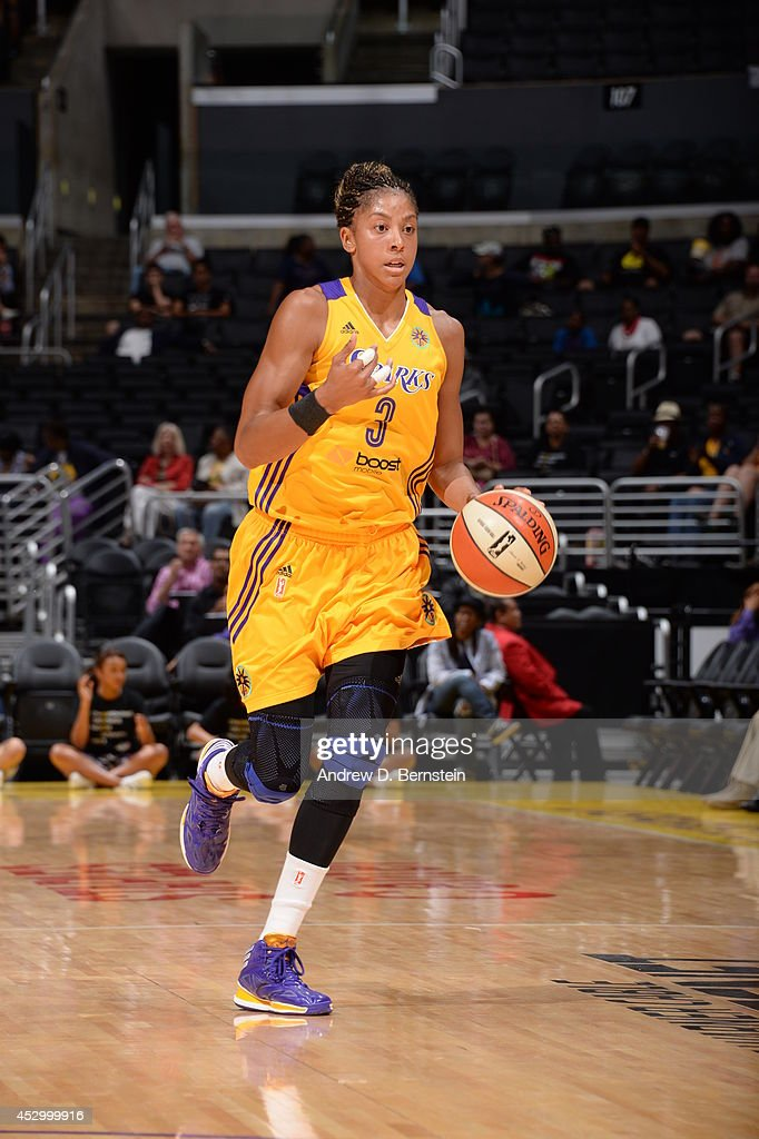 <a gi-track='captionPersonalityLinkClicked' href=/galleries/search?phrase=Candace+Parker&family=editorial&specificpeople=752955 ng-click='$event.stopPropagation()'>Candace Parker</a> #3 of the Los Angeles Sparks moves the ball up-court against the Washington Mystics at STAPLES Center on July 17, 2014 in Los Angeles, California.