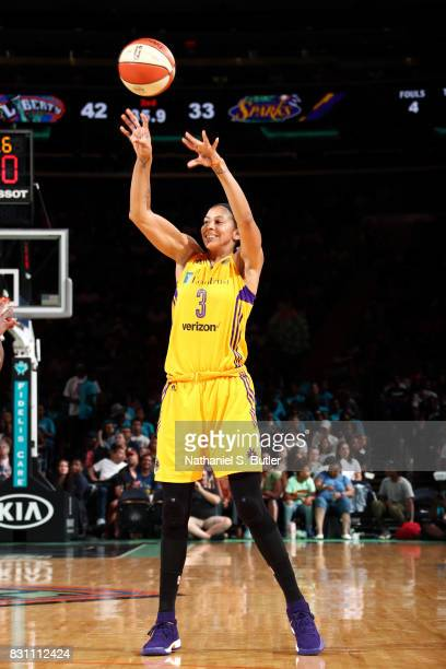 Candace Parker of the Los Angeles Sparks passes the ball during the game against the New York Liberty during a WNBA game at Madison Square Garden in...