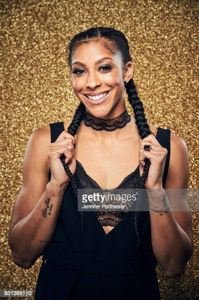 Candace Parker of the Los Angeles Sparks poses for a portrait at the NBA Awards Show on June 26 2017 at Basketball City at Pier 36 in New York City...